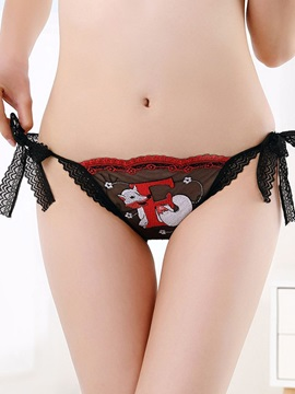 Animal Lace-Up Low-Waist Sexy Thong