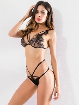 Lace Eyelash Three-Point Sexy Bra Set