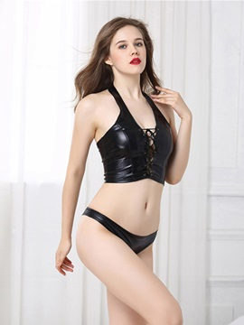 Halter Patent Leather Sleeveless Sexy Vest for Women