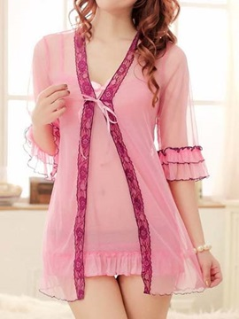 Pink Half Sleeve Sleepwear Three-piece