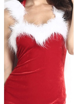 Red Fur-Decorated Hooded Christmas Costume