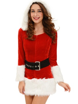 Cute Fur Hem Belt Hooded Santa Cosplay Christmas Costume