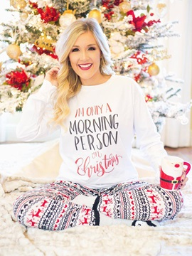 Loose Long Sleeve Letter Christmas Pajama Tops for Women