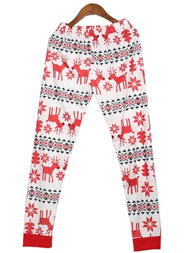 Fawn Snowflake Print Long Christmas Pajama Set for Women
