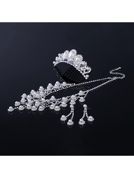Alloy with Pearl Wedding Jewelry Set(Including Tiara,Necklace and Earrings)