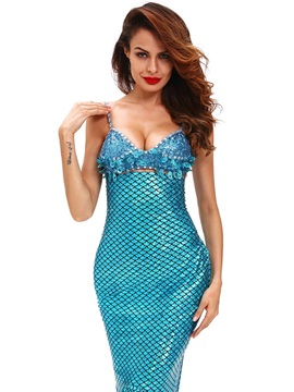 Blue Strapless Sequins Mermaid Cosplay Costume