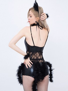 Plain Lace-Up Sexy Catwoman Costume