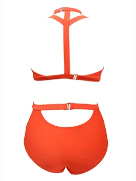 Charming Plain Hollow-Out High-Neck Bikini Set
