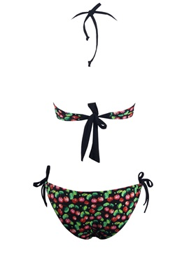 Cherry Pattern Bikini with Skirt Three-piece