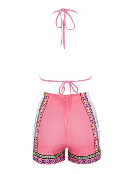 Pink Triangle Bikini Top & High Waist Bikini Short Women's Swimwear