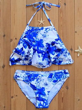 Delicate Ceramic Print Lace-Up Bikini Set