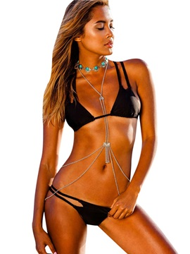 Hot Sexy Plain Double Spaghetti Strap Bikini Set