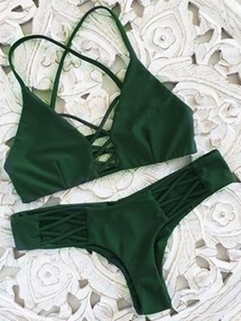 Plain Crisscross Lace-Up Bikini Set