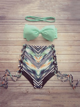 Fashionable Stripe Color Block High-Waist Bikini Set