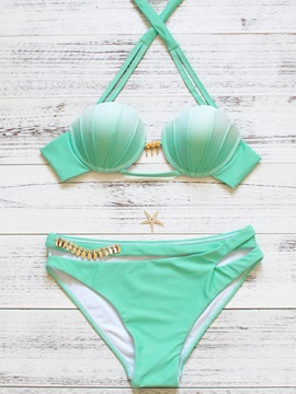 Simple Halter Shell Shape Bikini Set