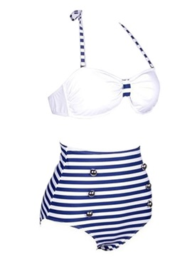 Stripe Lace-Up Button Tankini Set