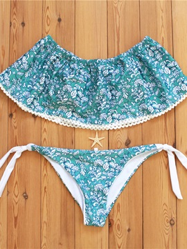 Floral Bowknot Lace-Up Bikini Set