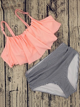 Plain Bikini Top& High Waist Stripe Bikini Short Swimsuit