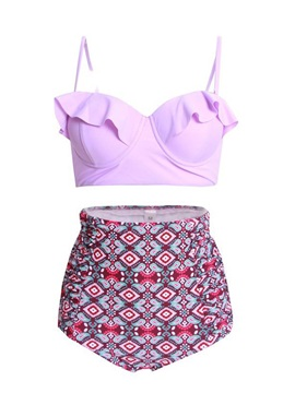 Plain Falbala Bikini Top & High Waist Print Pleated Bikini Short Swimsuit