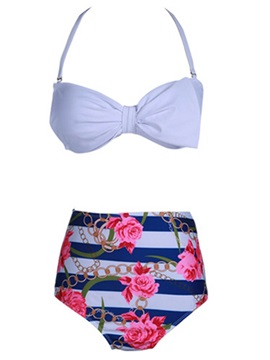 Plain Lace-Up Bikini Top & Floral Print Bikini Short Swimsuit