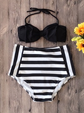 Stripe Plain Halter Bikini Set