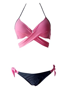 Plain Bowknot Lace up Plus Size Bikini Set