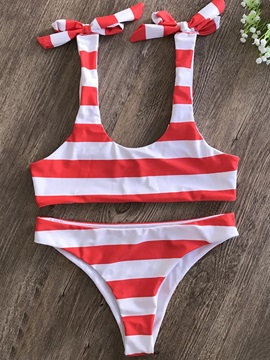 Stripe Bowknot 2-Pcs Bikini Bathing Suit