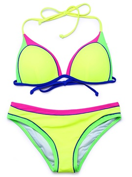 Triangle Color Block Halter 2-Pcs Bikini Suits