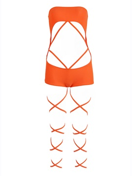 Chic Lycra Strap Designed Bandeau One-Piece Swimsuit