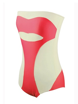 Stylish Red Lips Bandeau Patchwork One-Piece Swimsuit