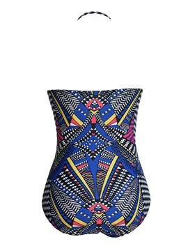 Strapless Printed Higt-waist Tight Swimsuit