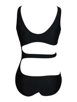 Black Round Neck Hollow One-piece Swimwear