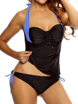 Simple Halter Lace-Up Black Tankini