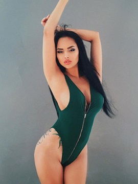 Sexy Zipper Plain Monokini