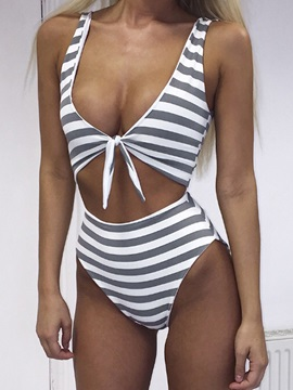Stripe Bowknot One Piece Swimwear