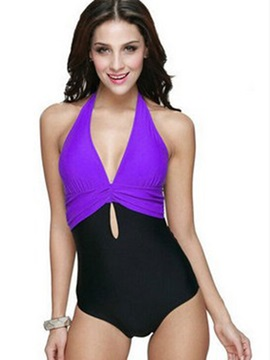 Color Block Hollow One Piece Swimwear