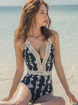 Floral Lace One Piece Swimwear
