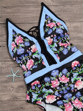 Halter Floral Hollow Backless One Piece Swimwear Monokini