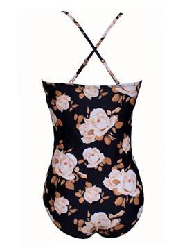 Spaghetti Strap Floral V-Neck One Piece Bathing Suit