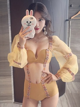 Sweet Yellow One Piece Sexy Bathing Suit