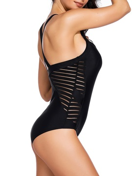 Beach Look Plain Black Hollow One Piece Swimwear