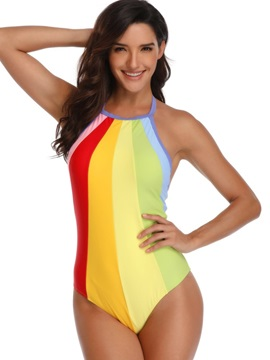 Lace-Up Color Block Sexy One Piece Swimwear