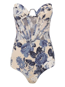 Sexy Lace-Up Floral Print One Piece Swimwear