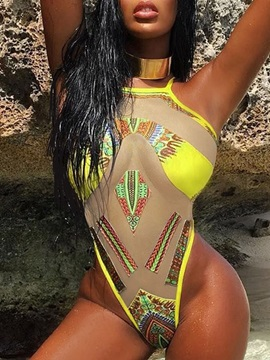 Sexy One Piece Color Block Swimwear