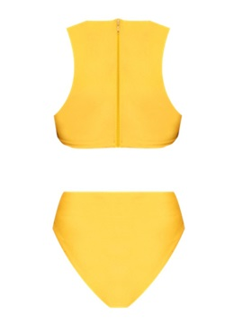 Yellow Hollow Sexy One Piece Plain Swimwear
