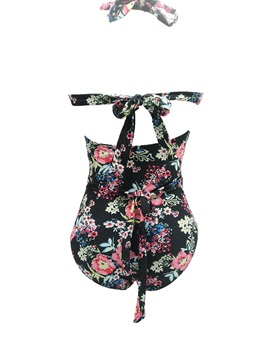 Floral Print Pleated One Piece Swimwear