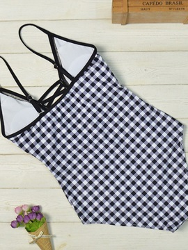 One Piece Plaid Women's Swimwear