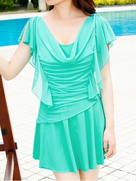Solid Color Pleated Swimwear