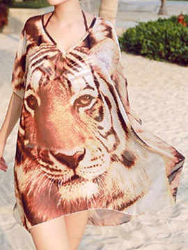Stylish Chiffon Tiger Printing See-Through Beach Dress Cover Up