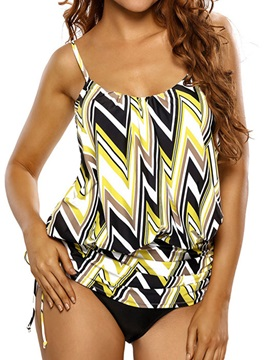 Casual Stripe Color Block Swimwear